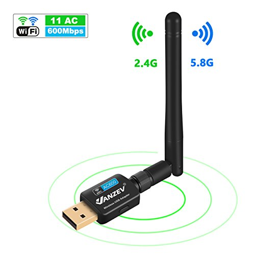 Foto de WiFi Adaptador de Red USB, VANZEV Doble Banda AC600 (5.8G/433M + 2.4G /150M) Con Antena Largo Alcance Receptor wifi Inalámbrico para PC Portatil, Compatible con Windows XP/Vista/7/8/10, Mac OS Linux