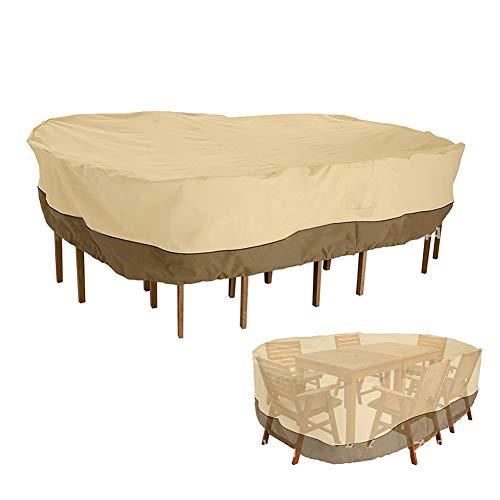 Möbelabdeckung- Veranda Rechteckig/Oval Patio Tisch & Stuhl Set Abdeckung, Beige Große Gartenmöbel Abdeckungen (Kann 6 Stühle Abdecken) (Size : 110x84x24inch) (Veranda, Patio Set)