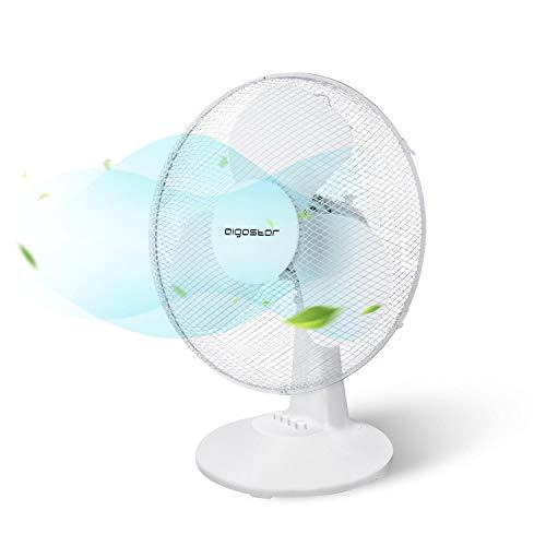 Aigostar Louis 33JTN - Ventilatore da tavolo, silensioso, 3 impostazioni di velocità, 30,5 cm, 2,2 kg, oscillazione di 80 gradi. Design esclusivo