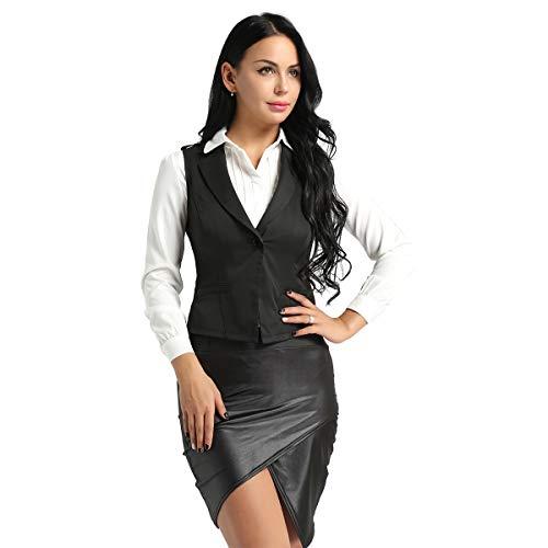 Agoky Damen Weste Tief V-Ausschnitt Anzug-Weste Frauen ärmellos für weiße Blusen und Shirts Kellnerin Business Kostüm Schwarz Small