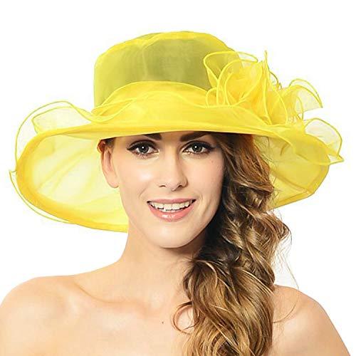 Discoball cappello da sole da donna - organza piatta floreale ampia visiera a tesa larga - cappellino derby kentucky - cappello estivo da sole a pieghe