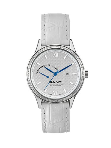 Gant Kingstown Women's Quartz Watch with White Dial Analogue Display and White Leather Strap W10765