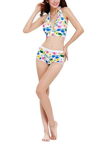 Damen zweiteiler Badeanzug Bikini Set hohe Taille rückenfrei Weiß