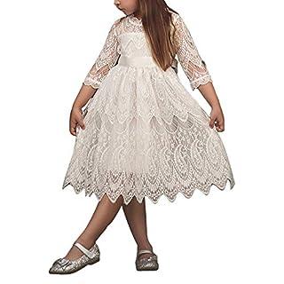 Feicuan Mädchen Kleider Spitze Bestickt hohlen Prinzessin Rock Hochzeit formal Party Kleid 2-7 Jahre