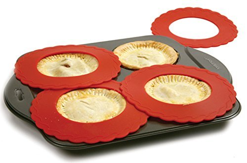 Set of 4 Mini Silicone Crust Shields - Protect Edge of 5 & 6 Pies From Burning, Mini Pie Pan Shields. by Bandwagon Pie Crust Edge