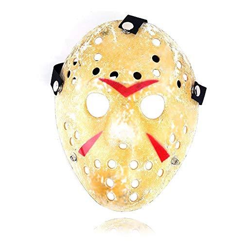 Ogquaton Halloween Jason Maske Gold Vintage Jason Voorhees Freddy Hockey Festival Halloween Maskerade Party Maske langlebig und praktisch