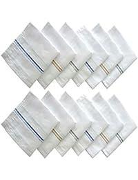 BOSS/AMIT/SATISH/Unbranded Men's Cotton Business Handkerchiefs, 45x45cm(White, MCS-WH-Hanky-P4) - Set of 4
