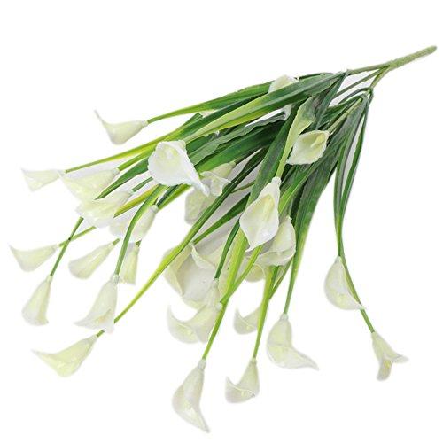 gzzebo Künstliche Calla-Lilie aus Kunststoff für Zuhause, Garten, Büro, Party, Hochzeit, Dekoration, 1 Blumenstrauß 5 Zweige
