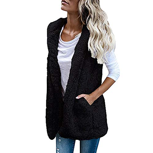 TWIFER Damen Weste Ärmellos Winter Warm Hoodie Outwear Mantel Faux Fur Zip Up Sherpa Jacke