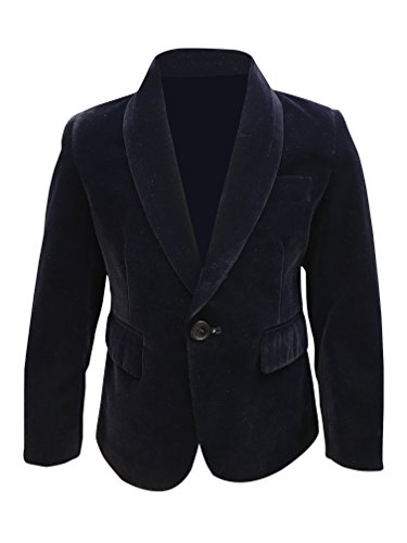 Baby and Boys Velvet Blazer Jacket Black Navy Blue Red Maroon 1 Year to 15 Year (1 Years, Navy Blue)