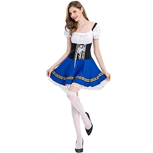 Fashion-Cos1 Halloween Bier Mädchen Kostüm Adult Oktoberfest Beer Maid Kostüm Karneval Party Kostüm Kleid (Size : S)