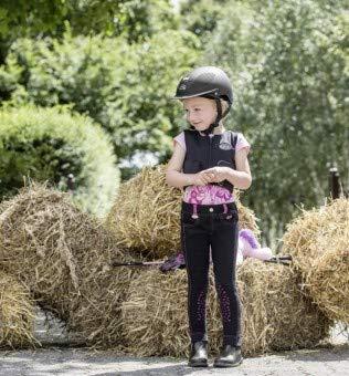 """USG Kinderreithose \""""Lilly\"""" mit Top-Grip Kniebesatz, schwarz/pink, S (98/104)"""