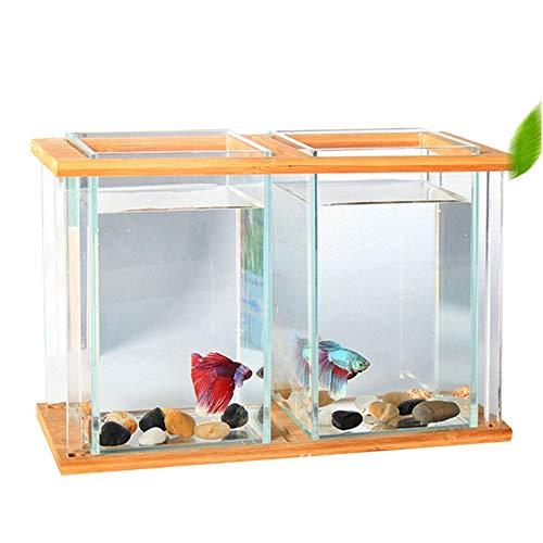 ZNN Fish Tank - Fish Tank Eco acrílico de Escritorio 2 en 1 con Marco de bambú, diseño Superior de trébol de Cuatro Hojas, Arena Inferior y lámpara, Apta para Sala