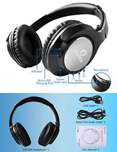 Bluetooth Over-Ear Kopfhörer - Atuten Kabellos Faltbare Ohrhörer Stereo Gaming Headphone mit Mikrofon für Alle Geräte mit Bluetooth/3.5mm Klinkenstecker - Kompatibel mit IOS Android - 8