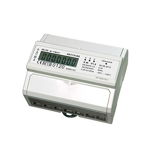 B+G E-Tech DRT751DE - LCD digitaler Drehstromzähler Stromzähler MID GEEICHT/BEGLAUBIGT 5(100) A mit S0 Interface für DIN Hutschiene