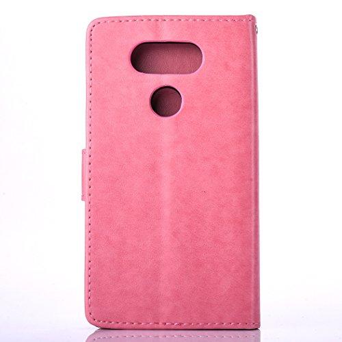 SainCat Coque Etui pour LG G5, LG G5 Coque Dragonne Portefeuille PU Cuir Etui, Coque de Protection en Cuir Folio Housse, SainCat PU Leather Case Wallet Flip Protective Cover Protector, Etui de Protect Pissenlit en relief-Rose