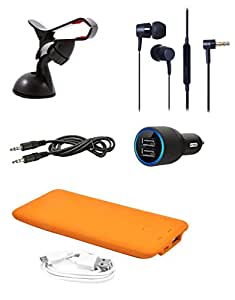 NIROSHA Lenovo A6000 Mobile Car Kit Combo -Mobile Phone Holder + Dual Port Car Charger + AUX Cable + Ultra Slim 4000Mah Powerbank