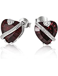 Goldmaid Women's 925 Sterling Silver ruby red Zirconia Earstuds