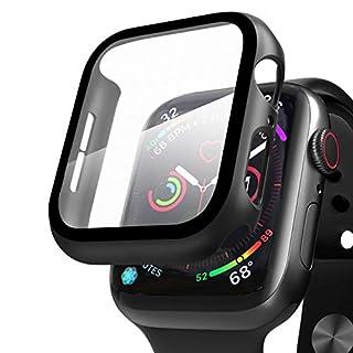Qianyou Kompatibel mit Apple Watch 44mm Series 5/4 Hülle mit Displayschutz, PC+Panzerglasfolie Vollschutz Hardcase HD Folie Ultra Dünn Schutzhülle Bumper Tempered Glass Screen Protector (Schwarz)