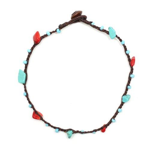 Tobillera Idin hecha a mano–cuerda de cera azul con cuentas color rojo, coral y turquesa hecho a mano.