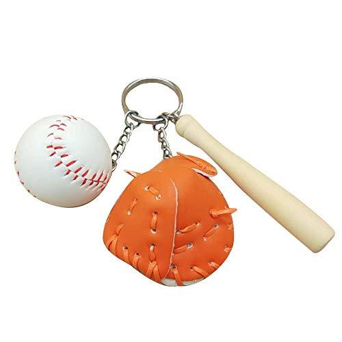 KDSANSO Baseball Schlüsselanhänger,Mini Baseballschläger Handschuh Set Anhänger Schlüsselanhänger Schlüsselanhänger Sport Fans Geschenk Tasche Hängende Verzierung,Orange 11cm