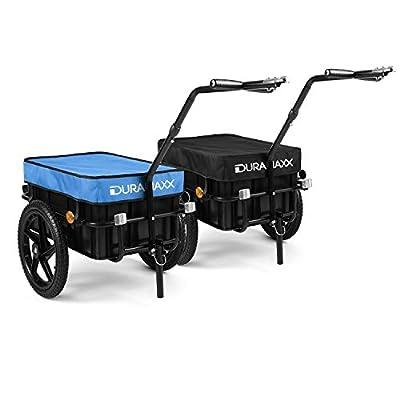 DURAMAXX Big-Mike Lasten Fahrradhänger Anhänger (mit Hochdeichsel, Transportbox mit 70 Liter Volumen, belastbar bis 40kg, Kugel-Kupplung für Fahrräder mit 26'' - 28'') schwarz oder blau