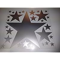 Bügelbild, Motiv: Sterne, Farbe: silber, Setgröße: maxi, heißsiegelfähige Flexfolie