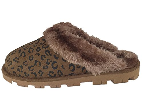 Mesdames Animal Mule confortable Superbe col Fourrure Chaussons Taille 3 à 8 brown