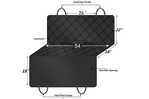 LIFEPUL Autoschondecke Doppelschicht für Hunde Rücksitz Robust Wasserfest (137cm * 147cm Schwarz)