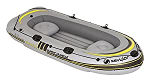 Sevylor Inflatable Boat Supercaravelle XR116GTX-7, 4 man Dinghy, Inflatable Pool Beach Toy, 322 x 132 cm, built in Motor Mount Fittings for Electric Motor