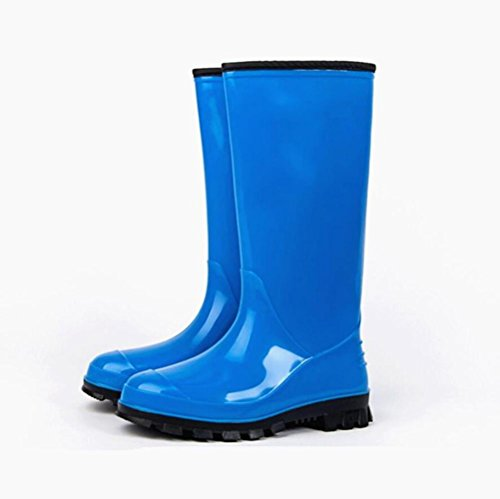 SIHUINIANHUA Frau Regen Stiefel/Rutschfeste verschleißfeste Überschuhe/Gummi PVC Wasser Stiefel/Damen in den Hohen Stiefeln Regen Stiefel, Blue, 40
