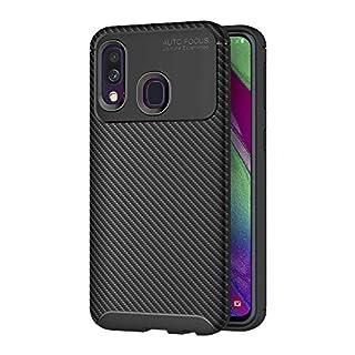 AICEK Compatible Samsung Galaxy A40 Hülle, Schwarz Silikon Handyhülle für Samsung A40 Schutzhülle Optik Karbon Soft Case (5,9 Zoll)