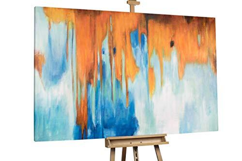 'Kampf der Elemente' 180x120cm | Abstrakt Blau Rot XXL | Modernes Kunst Ölbild