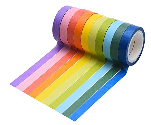 famoby-10-rolls-decorative-washi-rainbow-candy-color-diy-sticker-paper-tape