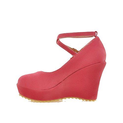 ... VogueZone009 Damen Nubukleder Hoher Absatz Rund Zehe Rein Schnalle  Pumps Schuhe Rot ...