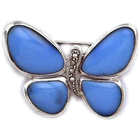 Mariposa de plata de ley con broche de Pirita azul turquesa o madre de incrustaciones de perla incrustaciones de diferentes - elegir