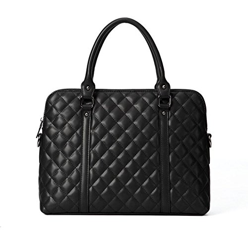 JUNBOSI Gehobenen Business Lingge Damen Aktentasche - Leder Laptop-Tasche - Casual Shopping Handtasche - Dinner-Party-Umhängetasche/Messenger Bag (Color : Black, Größe : One Size) - Business Casual Messenger Bag