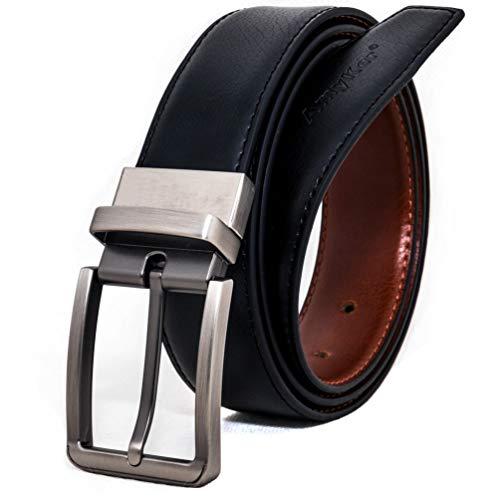 AmyKer uomo Cintura jeans in vera pelle con fibbia ad ardiglione nera, ritagliata, regalo per lui (nero, 115 cm (vita: 35'-37'))