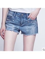 Agujero del verano en dril de algodón pantalones cortos chica versión coreana de aceleración estudiantes delgado,30,Azul
