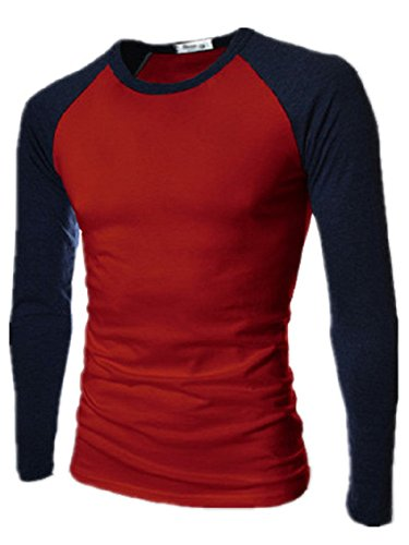 BOMOVO Herren Zwei-Farbe Funktionsunterwäsch Sweatshirt Terris langärmlig Top Rot