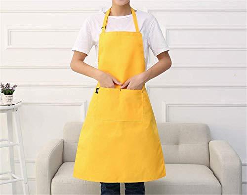 erdichte Schürze Damenmode Küche Kochen Ölbeständiger Haushalt Ärmellose Japanische Hängende Hals Einstellbare Löschbare Handschürze Gelb ()