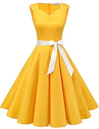 GardenWed Damen 1950er Vintage Cocktailkleid Rockabilly Retro Kleider Petticoat Faltenrock Abendkleid Yellow 3XL -