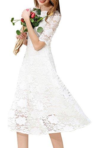 Tribear Damen Kurzarm Sommerkleid Spitze Elegant Abendkleid Partykleid Maxi Kleid Weiß