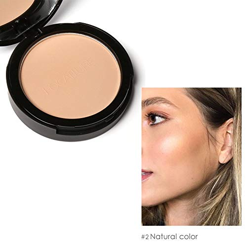 E-CHENG Pressed Powder, 3 Colors Wet Dry Pressed Powder Waterproof Oil Control Whitening Face Foundation Bronzer (2#) -
