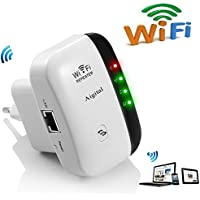 WiFi repetidor Extensor de Red WiFi -300Mbps Mini Wireless Extensor de Rango Inalámbrico Ap Amplificador Enrutador Repeater Booster Wireless 2.4GHz Universal EU Enchufe (N300, Puerto LAN, WPS)