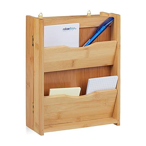 Relaxdays Schlüsselkasten Bambus, 6 Haken, schließt magnetisch, Schlüsselorganizer zum Aufhängen, HBT: 26x20x9cm, Natur - Schrank Garage Organizer