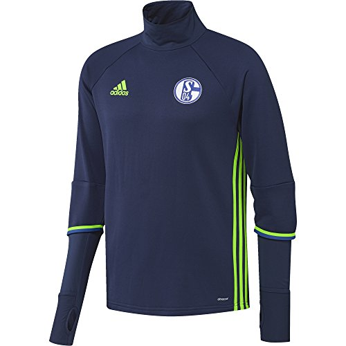 adidas Herren Schalke 04 Trainings Shirt Oberteil T-Shirt, Dark Blue/Solar Green, L