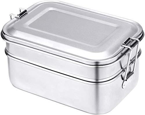 FOOLS ALIBAI Edelstahl-Bento Box Lunch Container, 2-stöckig,Metall-Pausenbox/Lebensmittel Aufbewahrungsbehälter für Kinder (1340 ml), spülmaschinenfest, BPA-frei