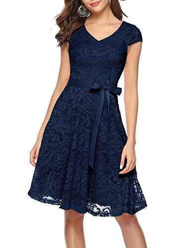 Berylove Damen V-Ausschnitt Kurz Brautjungfer Kleid Cocktail Party Floral Kleid BLP7006NavyM -