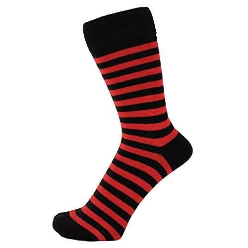 ZAKIRA Gestreifte Socken aus Gekämmter Baumwolle (Rot/Schwarz, 39-46)